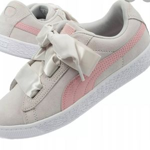 Puma girls suede ribbon lace gray pink shoes 11.5
